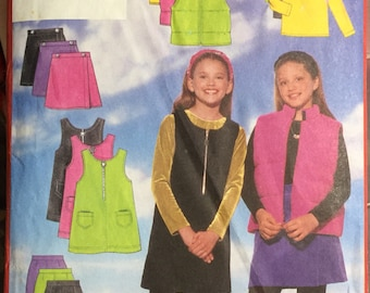 Girls' Vest, Jumper, Skirt, Pants, and Top Sewing Pattern Butterick 5226  Uncut and Complete Size 12-14