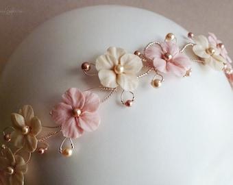 Rose Gold and Ivory Primroses Bridal Headband - Crystal Boho Headband, Floral Crown - Crystal Wedding Head Piece