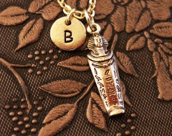 Sarcophagus Necklace, Custom Initial Necklace, Personalized Necklace, Engraved Necklace, Egyptian Necklace, Monogram Necklace, Gold Necklace