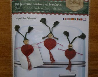 "Kit feutrine couture et broderie ""Magnets les betteraves """