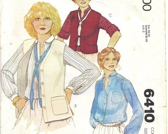 1970s McCalls 6410 Blouse (Size 8) and Buttoned or Reversible Vest (Sizes 8, 10, or 12) Pattern