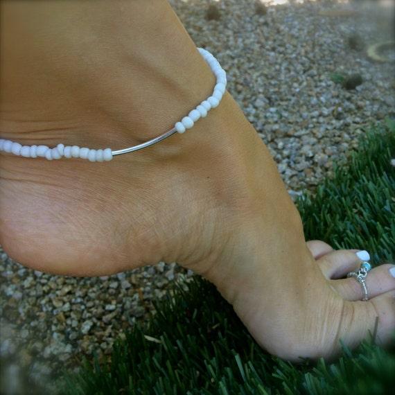 White Anklet Stretch Ankle Bracelet Weddings Bridal Beaded Boho Beach Bridesmaids Inspirational Gift Bath and Beauty Bohemian Beach Jewelry