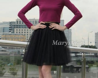Tulle skirt with matching lining, fixed waistband with hidden zipper (color - Black)