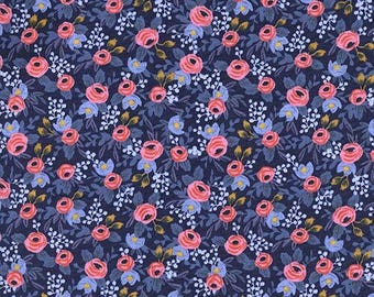 Rifle Les Fleurs Rosa Navy, Quilting Cotton, Floral cotton, Fabric by the yard, Rifle floral, Rosa, Navy floral, apparel cotton, fat quarter