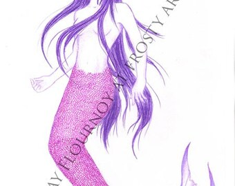 Purple Mermaid 2 - Large Print