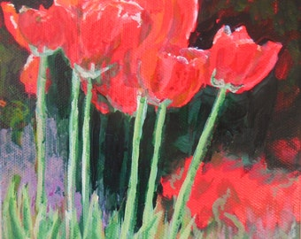 Original acrylic painting Red Tulips 6 x 6  ready to hang. canvas stretched over wood painted around the edge.