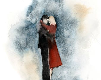 The Hug Fine Art Print, love story series watercolor painting art, couple in love painting art print, giclee love wall art print