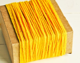 Thick Cotton Twine in Bright Yellow - 10 Yards - Packaging Gift Wrapping String Cord Trim Ribbon Pretty Vintage Party Crafting Supply Decor