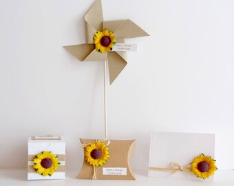 Ensemble de prototypes pour mariage/anniversaire thème champêtre tournesol