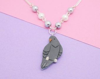 Pigeon Necklace // Bird Jewellery, Bird Necklace, Animal Necklace, Gifts for Bird Lovers, Dove, Rock Dove, Polymer Clay, Pigeon Jewellery