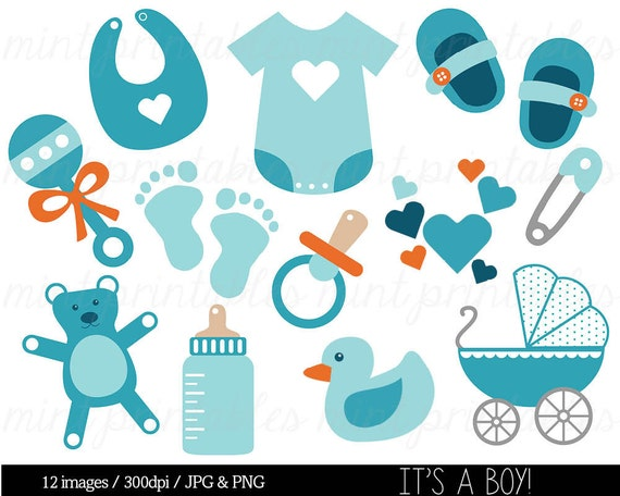 Baby Boy, Baby Shower Clipart Clip Art, Blue Baby Clipart, Onesie Baby  Stroller Pram Rattle Bib   Commercial U0026 Personal   BUY 2 GET 1 FREE! From  ...