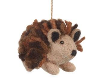 Brown Hedgehog-Felt animals - Needle felted Animal - Christmas - Wool felt - Woodland decorations - Baby shower-Merino - Ethical -Handmade