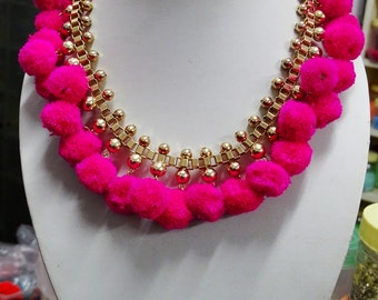 Hot Pink pompom Collar Necklace/Bohemian collar necklace/Statement necklace