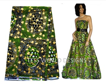 African Fabric by the Yard / African Fabric Shop on Etsy /Metallic Gold / for African Prom dresses / African gowns / Green /  WP391B