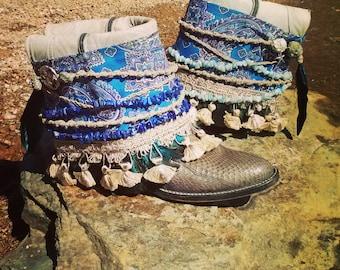 Upcycled Cowboy Boho Boots- Custom Vintage Repurposed-Mermaid- Made to Order
