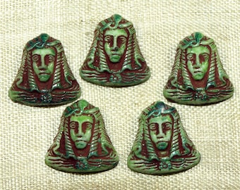 "Five ""Egyptian"" King Tut cabochons, Czech-made in the 1920s; VGL495"