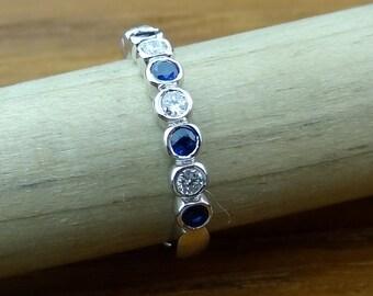 Wedding Band With Bezel Setting 1/2 Way Blue Sapphire & Diamond 14k White Gold Engagement Ring