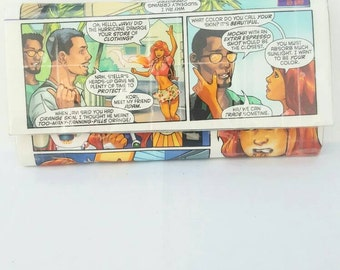 Cool Handmade Long Recycled Women's Wallet, Upcycled Starfire Comic Book Wallet, Unique Wallets for Women, Ladies Wallet, Clutch Wallet