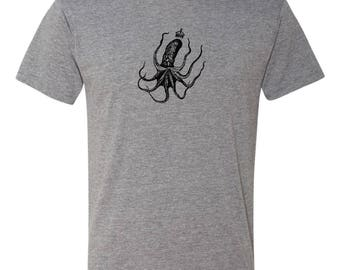 Octopus with Crown Gray Triblend T-Shirt Animal Series