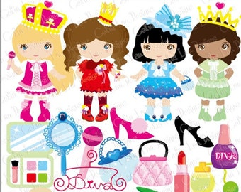 Diva Princess Party Digital Clipart / Little Girls Diva Party Cute girl Dress Up Party Clip art (CG072)