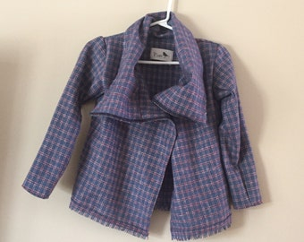 Red, White and Blue Plaid Wool Wrap Jacket 3T