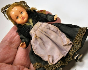 """Miniature Vintage Celluloid Doll with Jointed Arms and Legs, Doll House Doll, Folk Art Doll, Original Clothes, 1940s, Ethnic Doll, 4"""""""