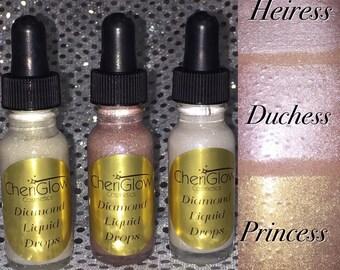 Liquid Highlighter, Diamond Liquid Highlighters, Bundle of 3, Liquid Drops, Liquid Highlighters, Highlighter, Glow Drops, CoverFx Dupe
