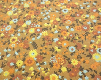 Vintage Fabric Yellow Floral Bottom Weight 2 Yards Decorator Home Decor Cotton Blend 60s 70s Flowers Print