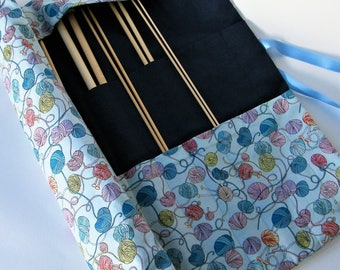Straight knitting needle organiser. Knitting needle roll. Yarn Ball  fabric