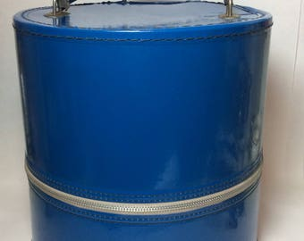 Vintage Vinyl Cobalt Royal Blue Hat or Wig Box Cylinder Cylindrical Case Retro 1960's Decor Accessories
