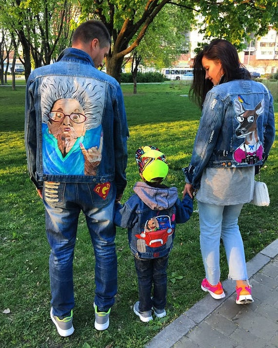 Hand Painted Denim Jacket Jacket Art Work On It Art On Denim