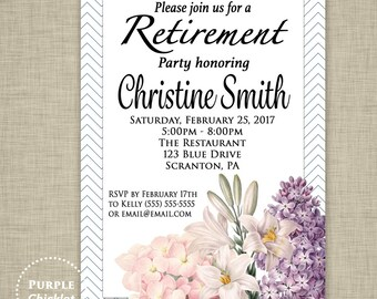 Retirement Party Invitation Going Away Farewell Elegant Floral Birthday Invitation Feminine Milestone Party Invite DIY Printable File 351
