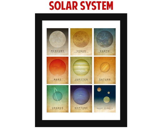 Space Art Solar System Mosaic Wall Art Print Space Poster