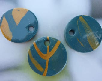 SET OF 3 CABOCHONS BLUE-GREEN AND GOLD...