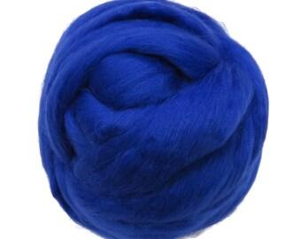 Merino Silk Roving Peacock- Vibrant Color Mulberry Wool Silk Blend Fiber for Spinning & Felting
