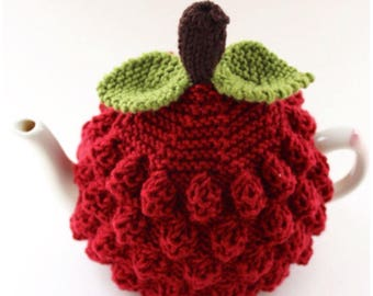 Handknitted Raspberry Tea Cosy in Pure Merino Wool - Size Medium (fits 4-6 cup teapots) - an exclusive Tafferty Designs design