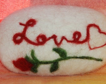 Felted Soap Love With Rose & Red Heart Bar