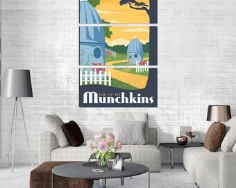 Munchkin Land Wizard of Oz Triptych Metal Wall Art