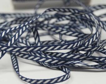 Solid Diagonal Stripe Ribbon -- 1/8 inch -- Navy Blue White Stripe