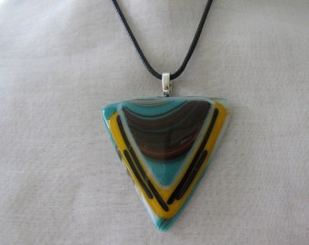 "SALE; Southwest Pendant 18"" Black Leather Cord With Extender; Fused Glass Pendant; Fused Glass Jewelry; Pendant; Jewelry PTS-113"