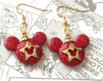 Mickey Christmas Earrings, Red Mickey Ornaments Earrings, Red Mickey Dangle Earrings, Red Mickey Holiday Jewelry, Red Star Earrings