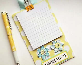 Flower Notepad Holder - Hanging Pad - Things To Do Notepad - Yellow Blue