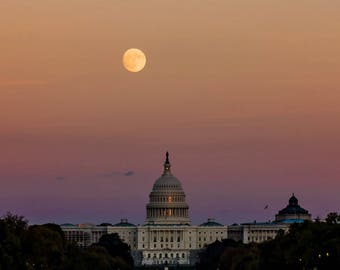 United States Capitol with Moon