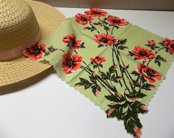 Vintage Handkerchief Light Green With Coral Flowers
