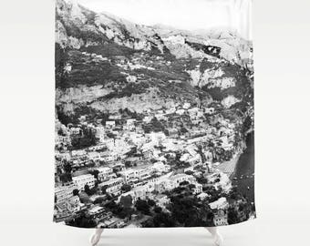 Italy Photography Shower Curtain, Positano, Black and White, Fabric Shower Curtain, Standard or Extra Long Shower Curtain, Housewarming Gift