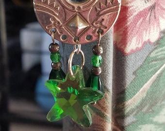 Mermaid metal bookmark with green crystal star