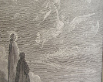 Antique Engraving.  Plate 51, Gustave Dore (1832-1883) Dante -Purgatory and Paradise