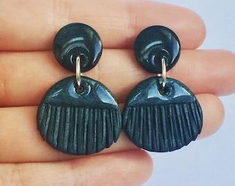Black fringe earrings, clay earrings, polymer clay jewelry, handmade earrings,