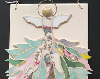 Freestyle stained glass mosaic angel