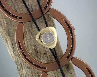 Western Bolo Tie - U.S. State Quarter Bolo Tie - Cowboy Bolo Tie - Handmade Triangular Brass Bolo Slide with Your Choice of State Quarter